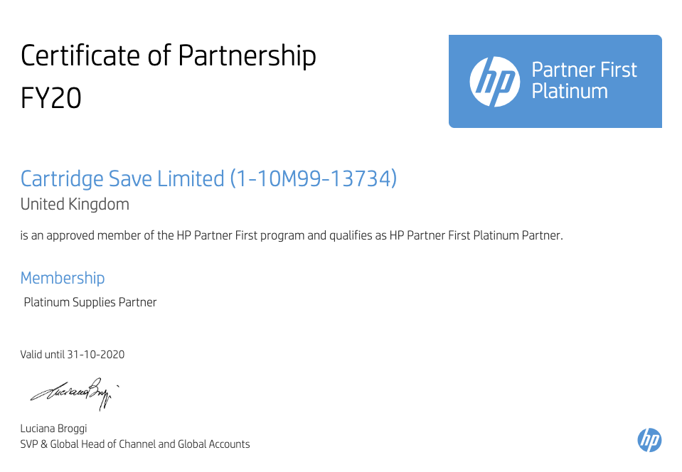 Partner First Platinum Certificate