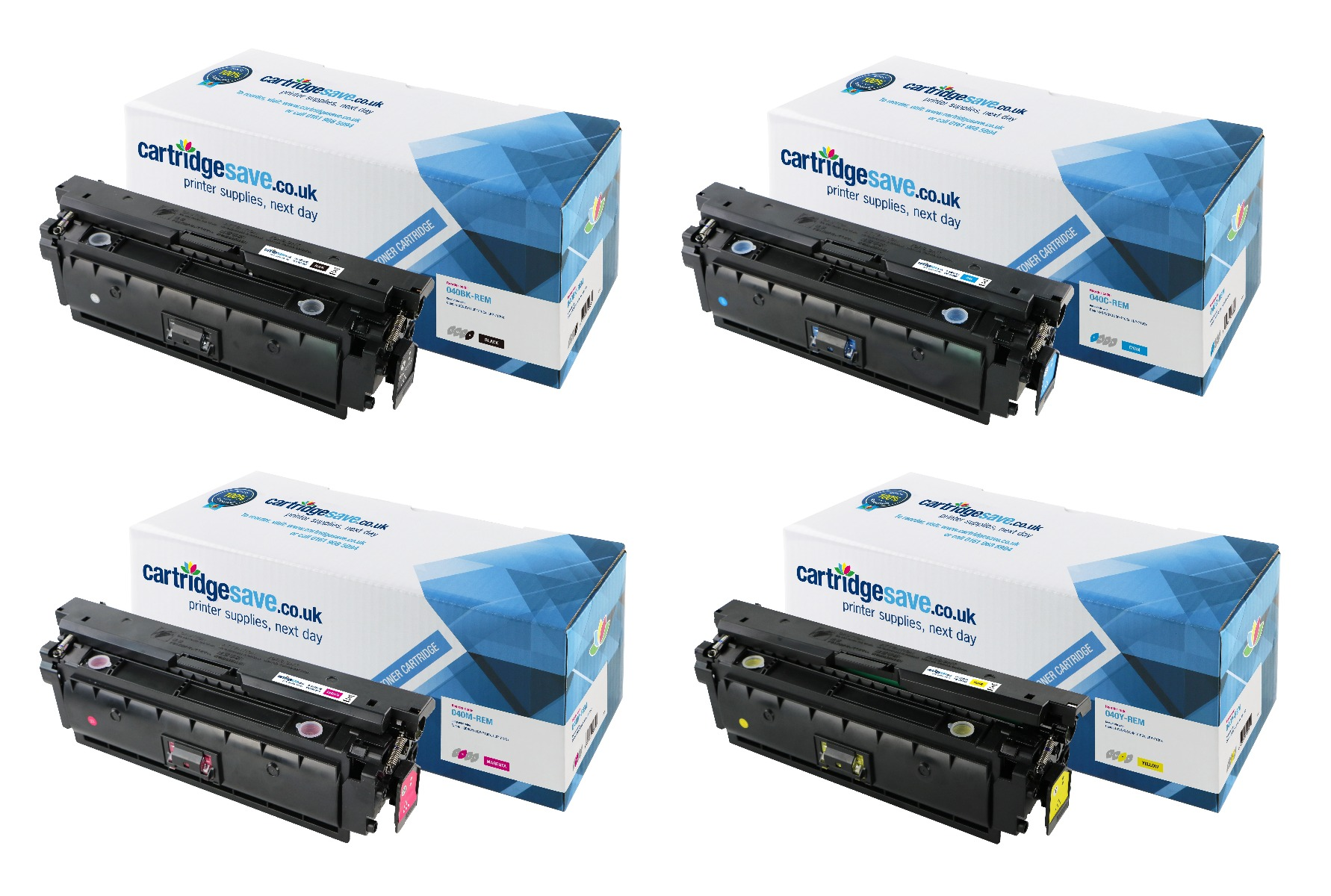 Compatible 4 Colour Canon 040 Toner Cartridge Multipack - (040BK/040C/040M/040Y)