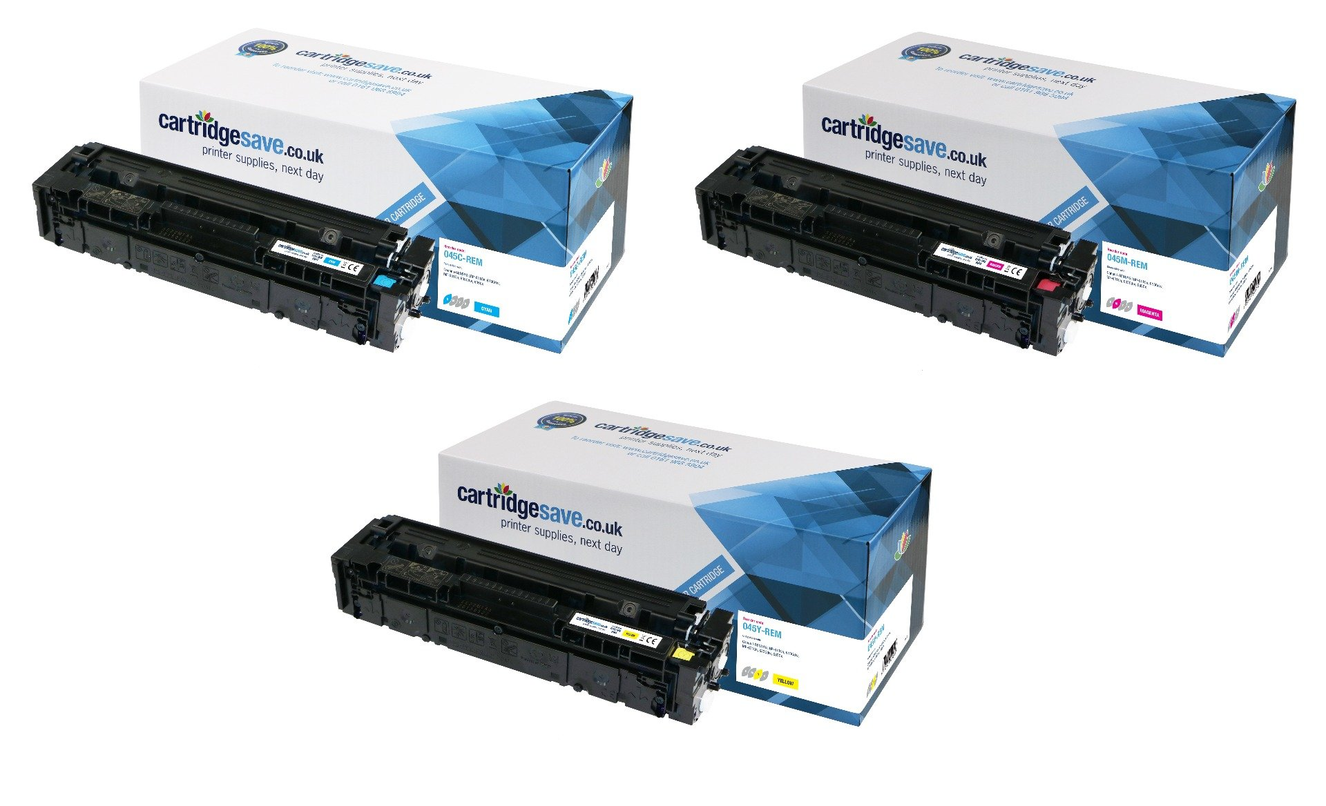Compatible 3 Colour Canon 045 Toner Cartridge Multipack - (Replaces Canon 045C/M/Y)