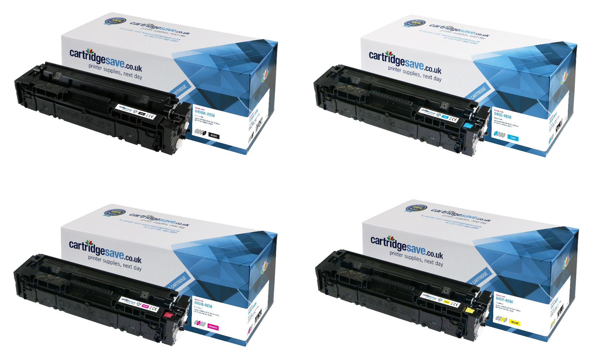Compatible 4-Colour Canon 045 Toner Cartridge Multipack - (Replaces 045BK/C/M/Y)