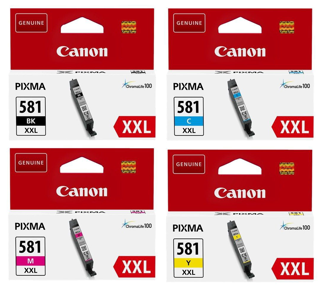 Genuine Extra High Capacity 4 Colour Canon CLI-581XXL Ink Cartridge Multipack - (1998C005)