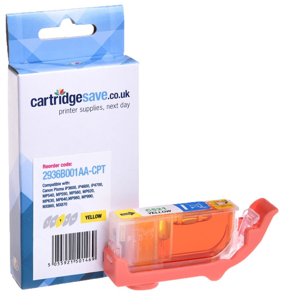 Compatible Yellow Canon CLI-521Y Ink Cartridge - (2936B001AA)