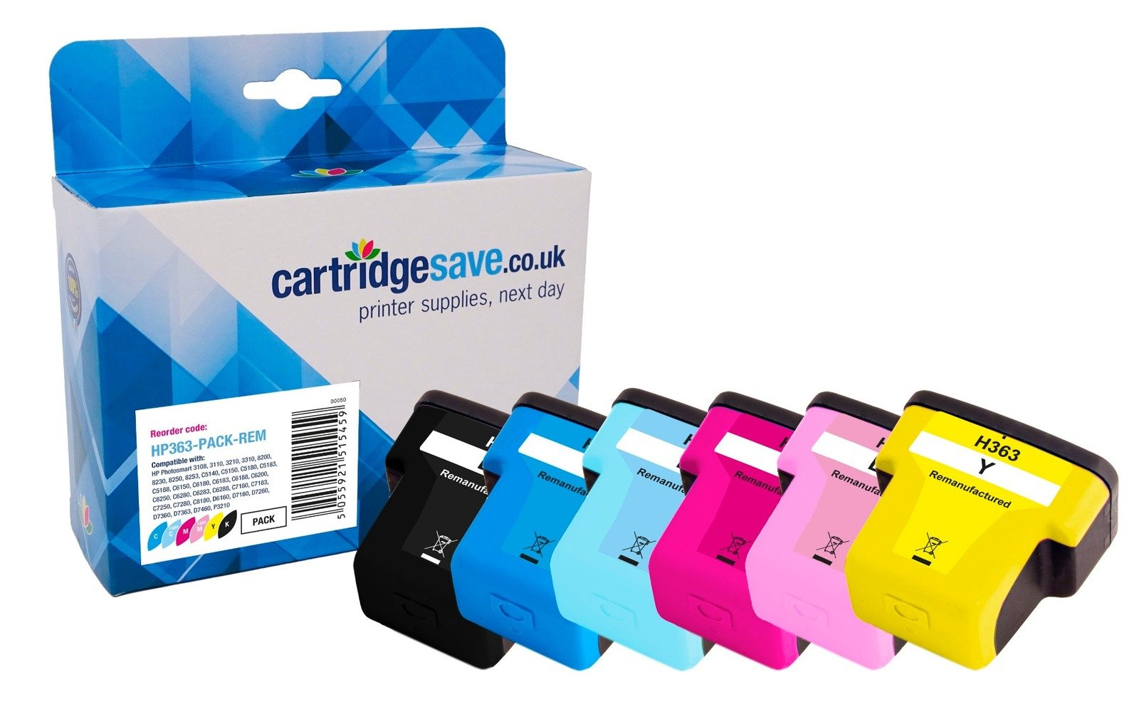 Compatible Multipack 6 Colour HP 363 Ink Cartridge Pack (HP 363 BKXL & HP 363 CMY/LC/LM)