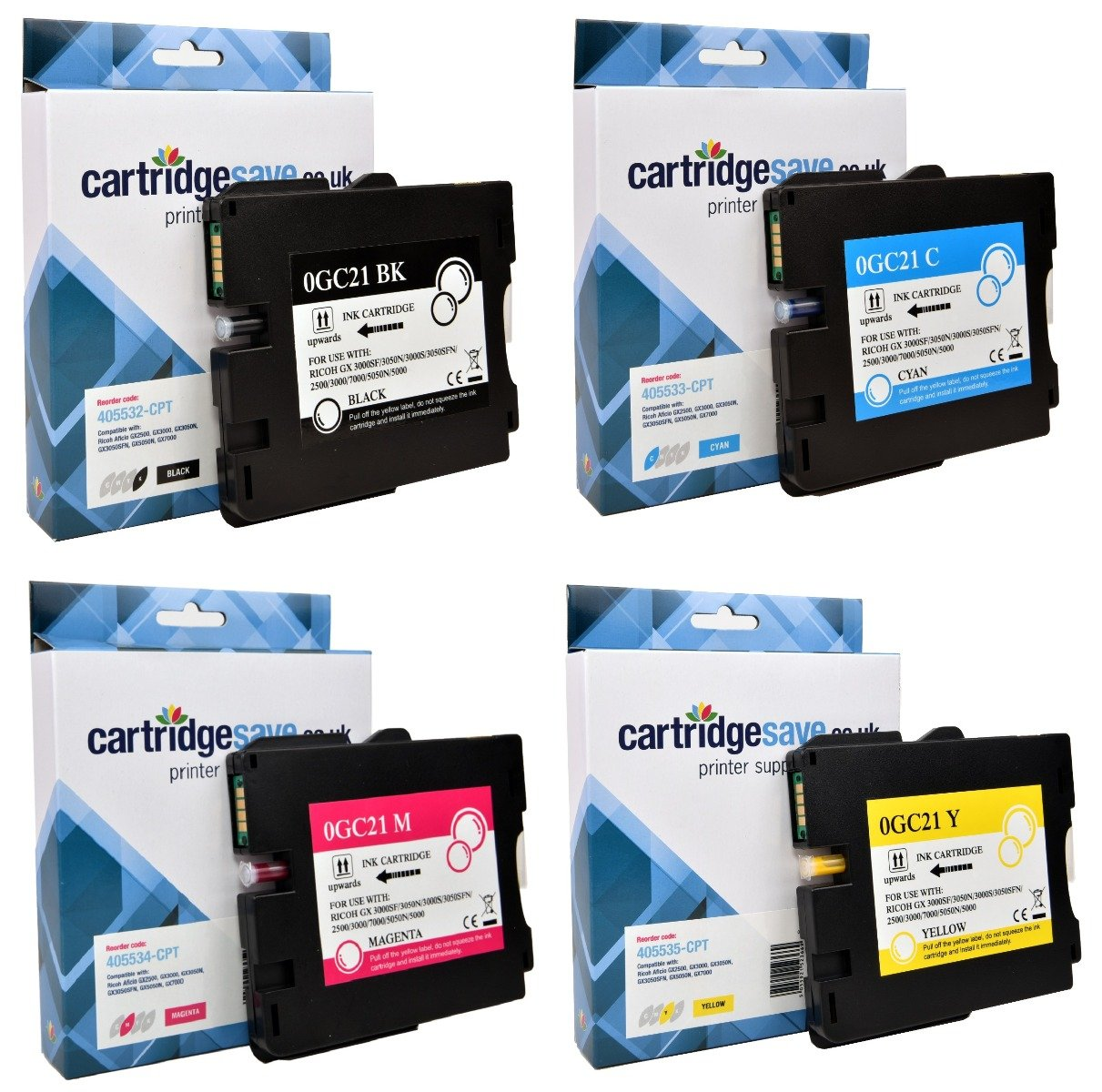 Compatible Ricoh 4 Colour GC21 Gel Ink Cartridge Multipack - (405532/3/4/5)