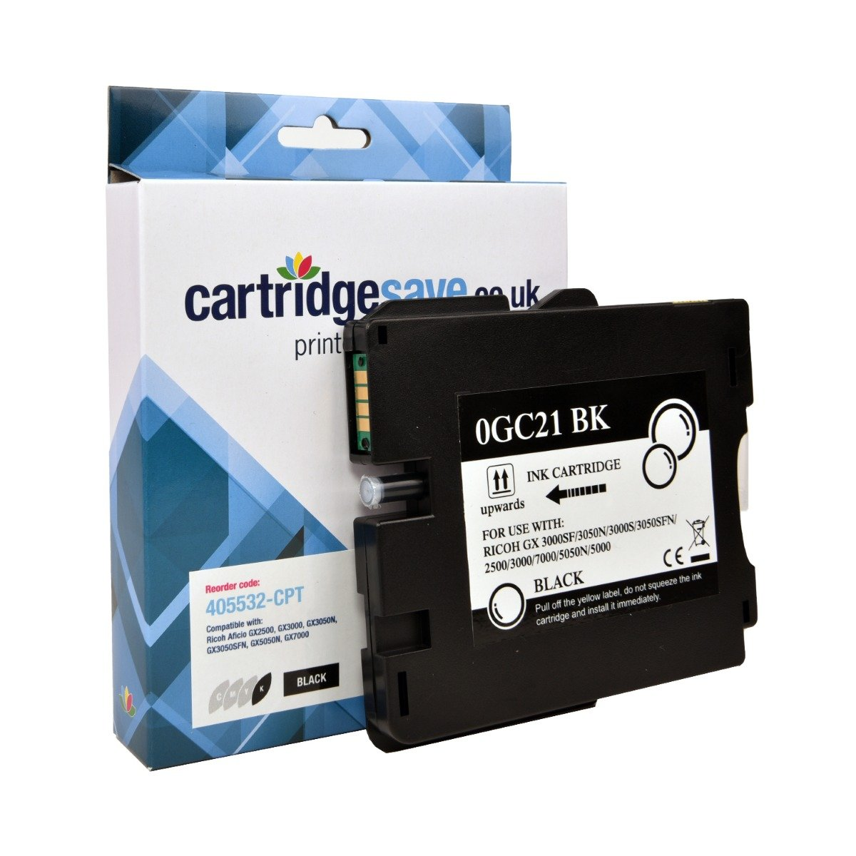 Compatible Ricoh Black GC21K Gel Ink Cartridge - (Ricoh Black 405532 Gel Cartridge)