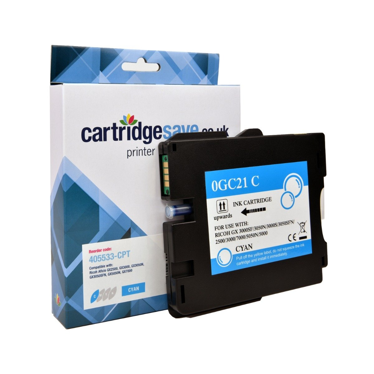 Compatible Ricoh Cyan GC21C Gel Ink Cartridge - (Ricoh Cyan 405533 Gel Cartridge)