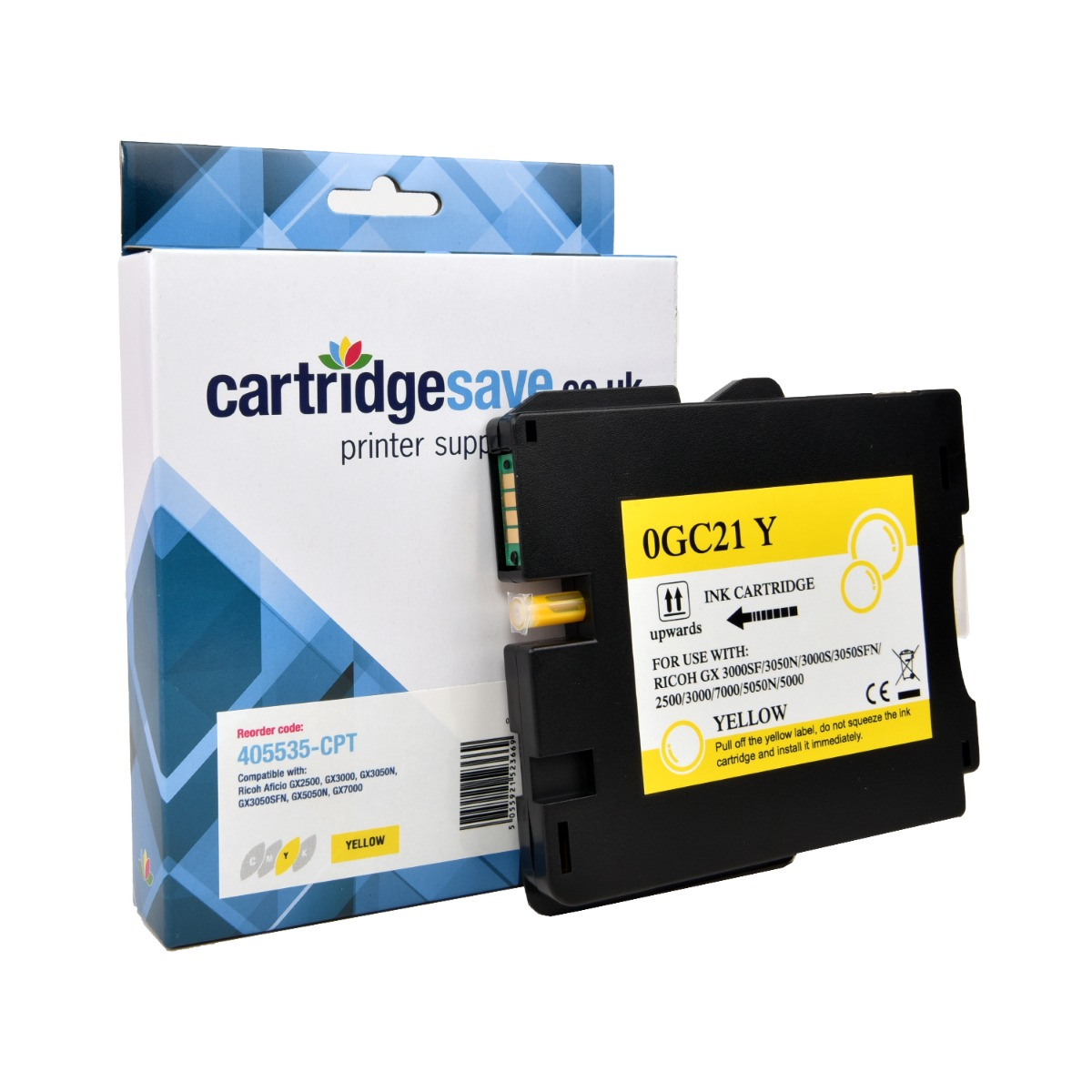 Compatible Ricoh Yellow GC21Y Gel Ink Cartridge - (Ricoh Yellow 405535 Gel Cartridge)