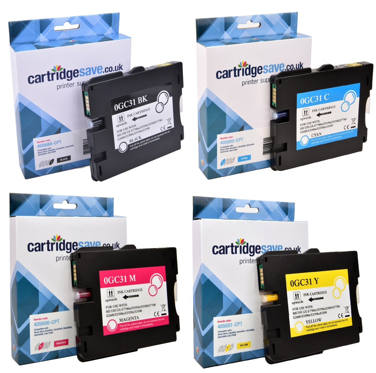 Compatible Ricoh 4 Colour GC31 Gel Ink Cartridge Multipack - (405688/405689/405690/405691)