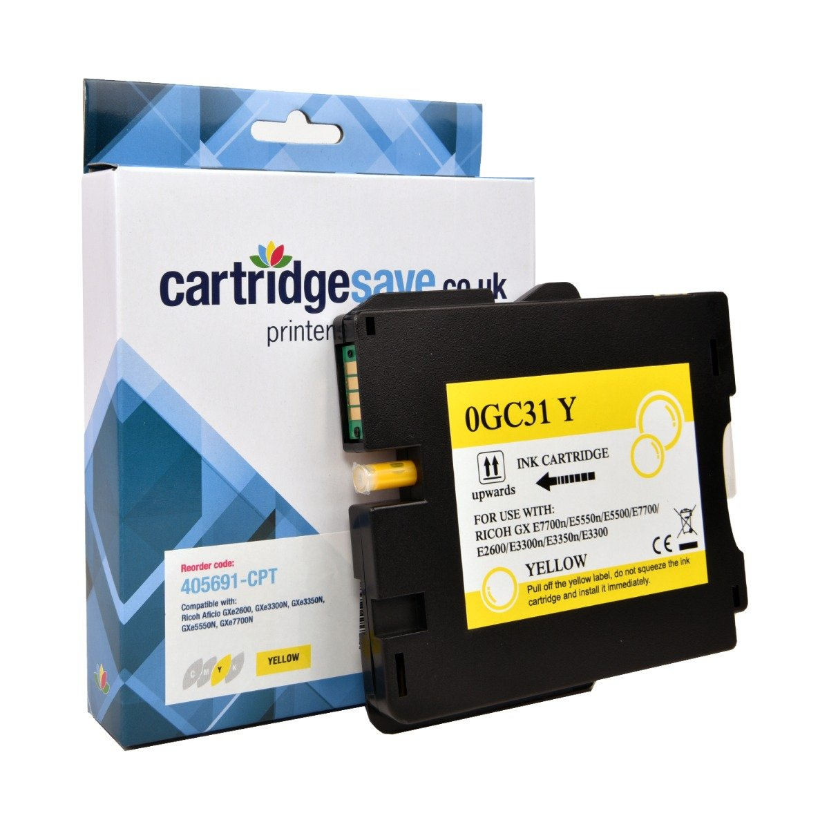Compatible Ricoh Yellow GC31Y Gel Ink Cartridge - (Ricoh Yellow 405691 Gel Cartridge)
