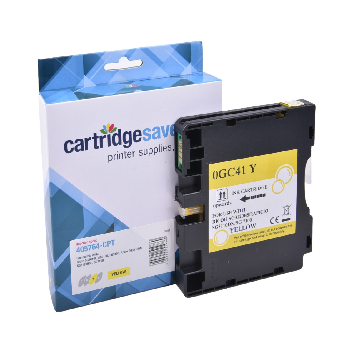 Compatible Standard Capacity Yellow Ricoh GC41Y Gel Ink Cartridge - (Ricoh Yellow 405764 Gel Cartridge - Non Sublimation)