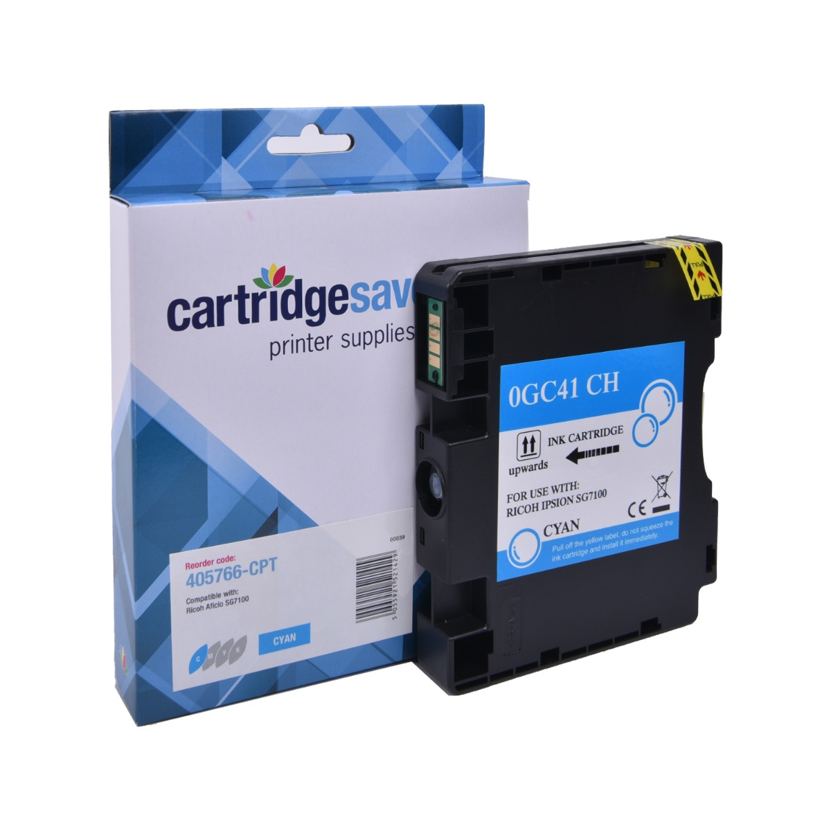 Compatible Ricoh Cyan GC41 Gel Ink Cartridge - (Ricoh Cyan 405766 Gel Cartridge)
