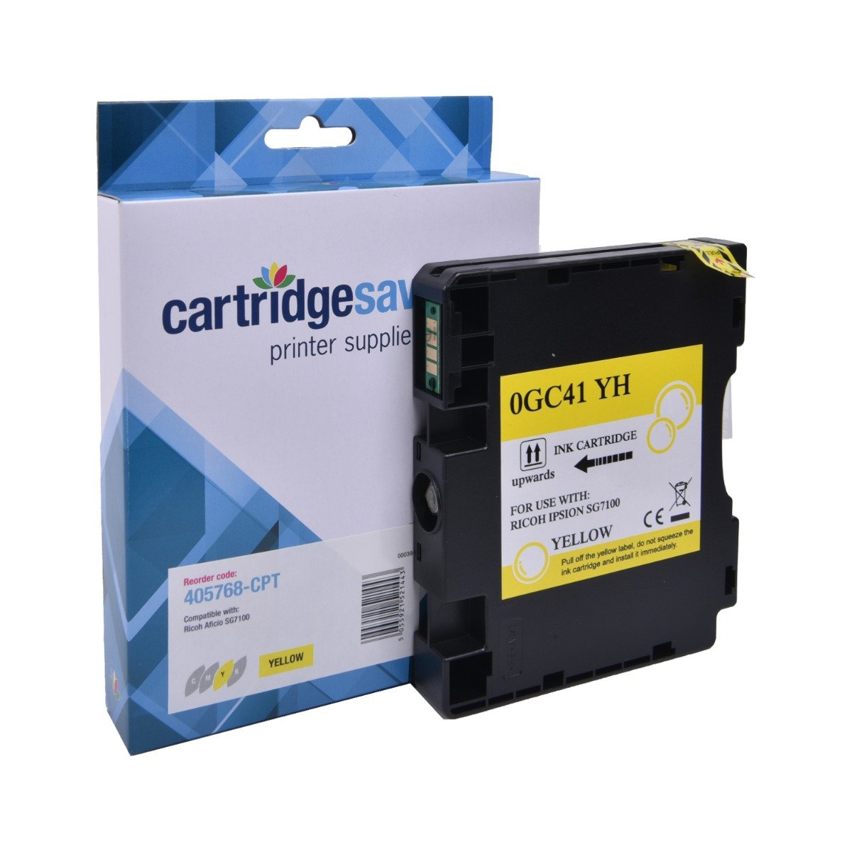 Compatible Ricoh Yellow GC41 Gel Ink Cartridge - (Ricoh Yellow 405768 Gel Cartridge)