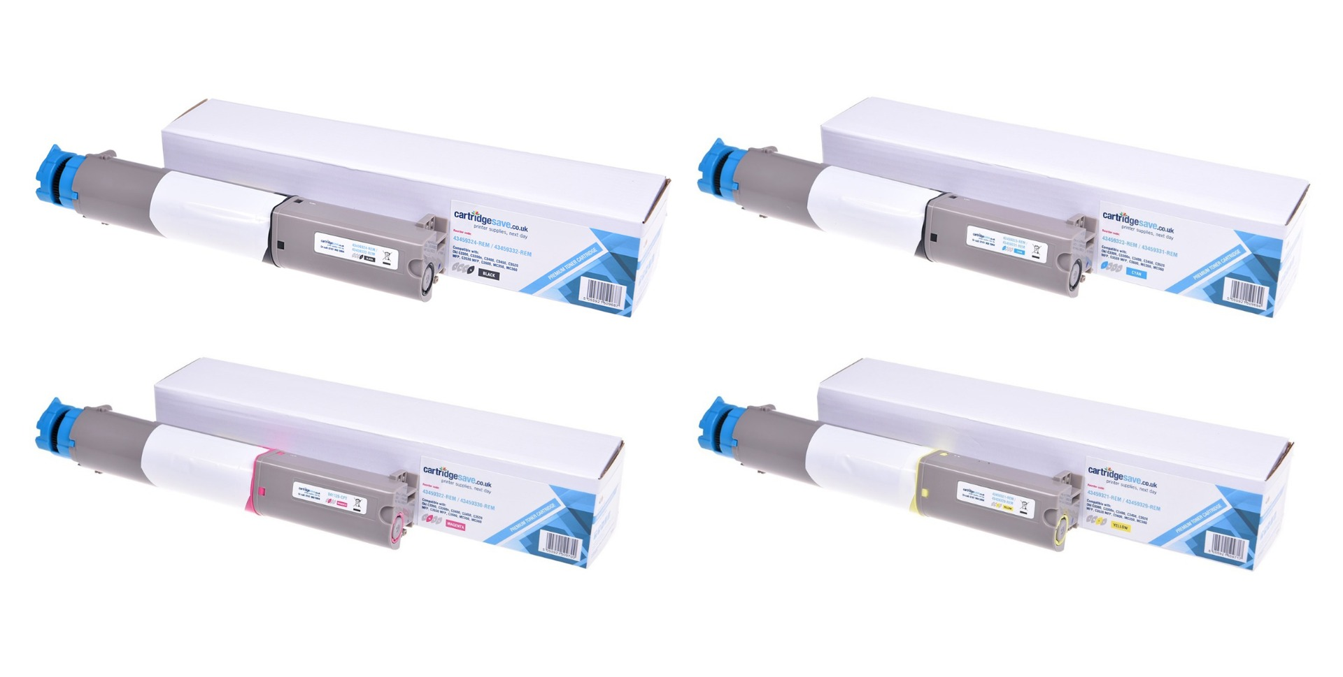 Compatible High Capacity 4 Colour Oki 434593 Toner Cartridge Multipack - (43459332/31/30/29)