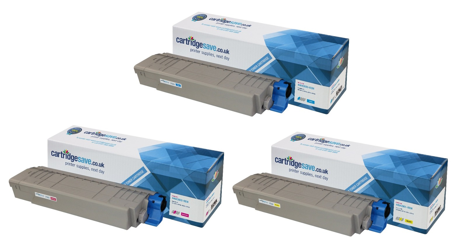 Compatible 3 Colour Oki 4464300 Toner Cartridge Multipack - (44643003/2/1)