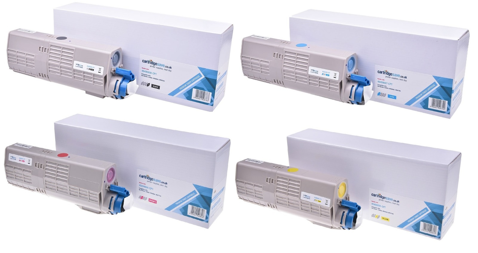 Compatible 4 Colour High Capacity Oki 4649060 Toner Cartridge Multipack (46490605/6/7/8)