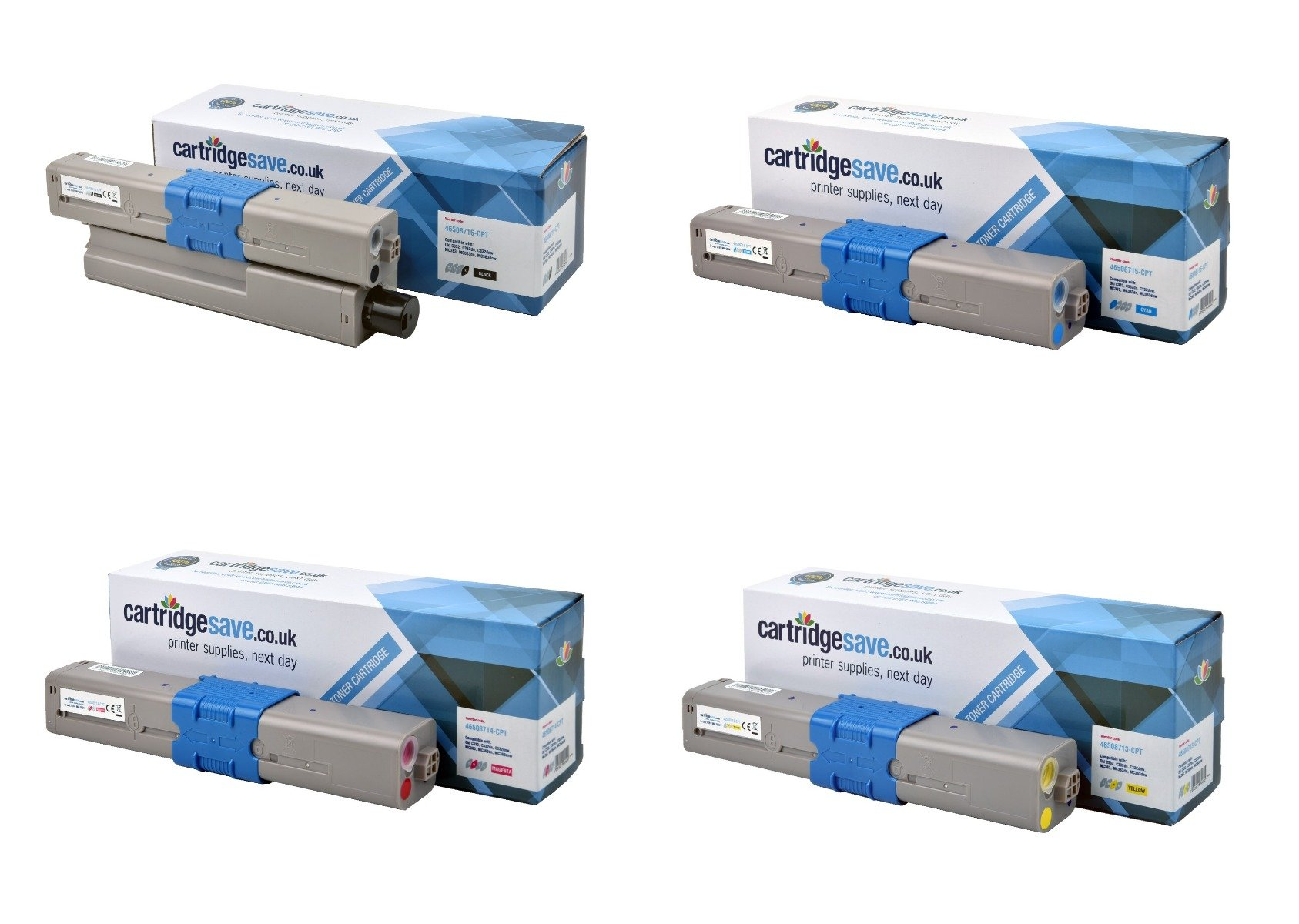 Compatible 4 Colour Oki 4650871 Toner Cartridge Multipack - (46508713/4/5/6)