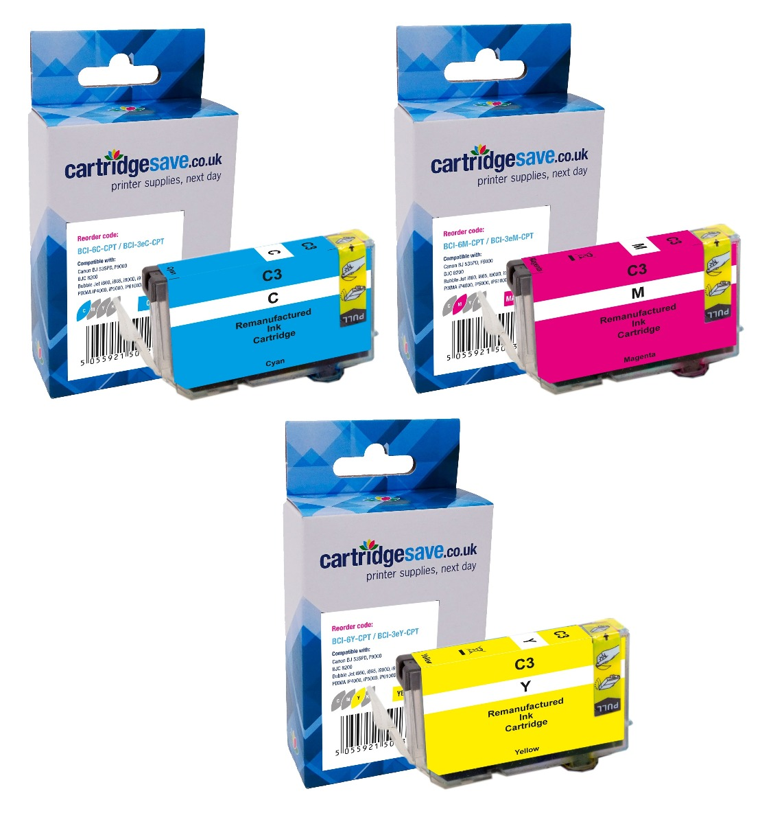 Compatible Multipack 3-Colour Canon BCI-6CMY Ink Cartridge - (4706A022)
