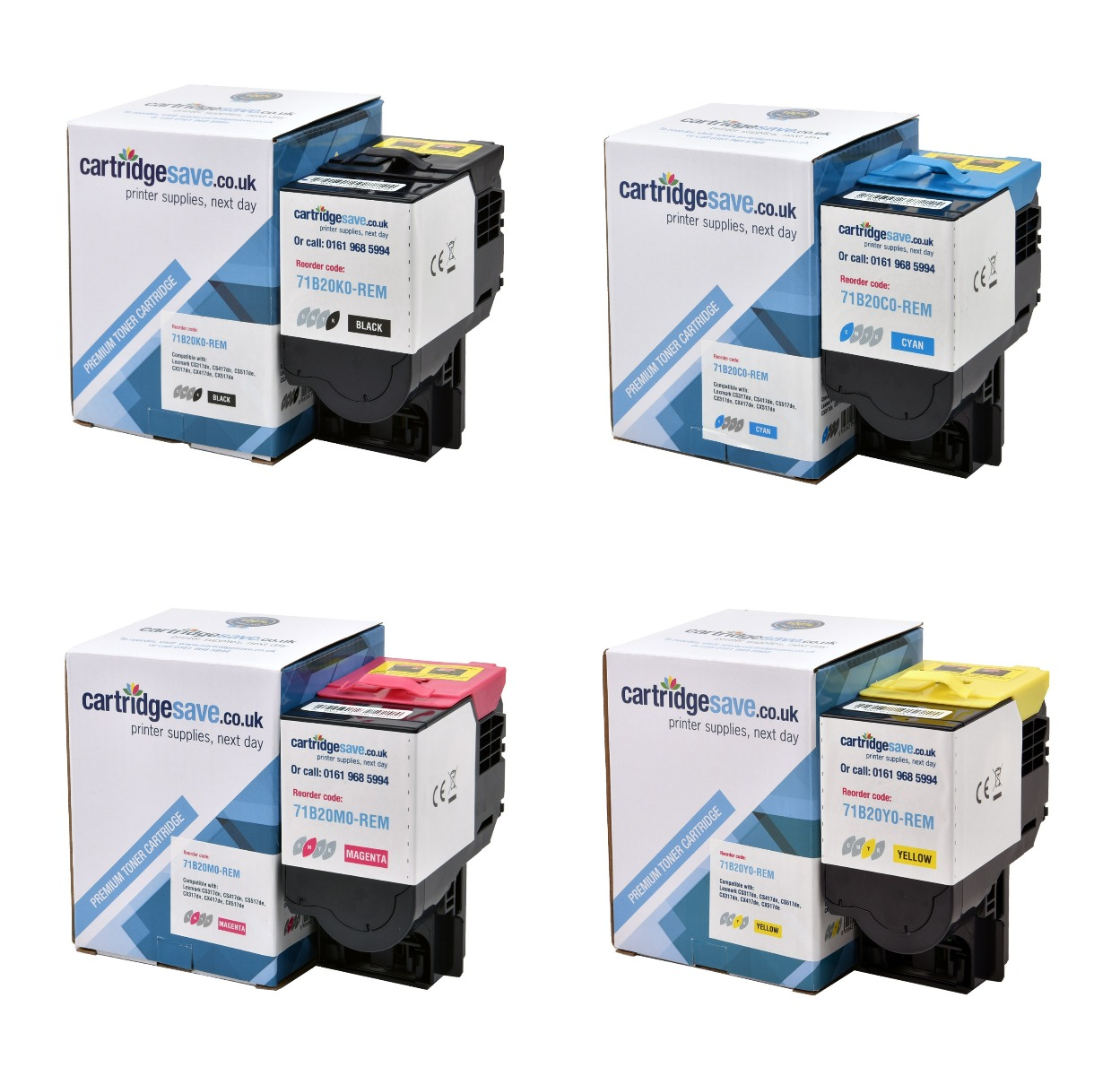Compatible 4 Colour Lexmark 71B20 Toner Cartridge Multipack - (71B20C0/K0/M0/Y0)