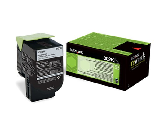 Genuine Black Return Program Lexmark 802K Toner Cartridge - (80C20K0)