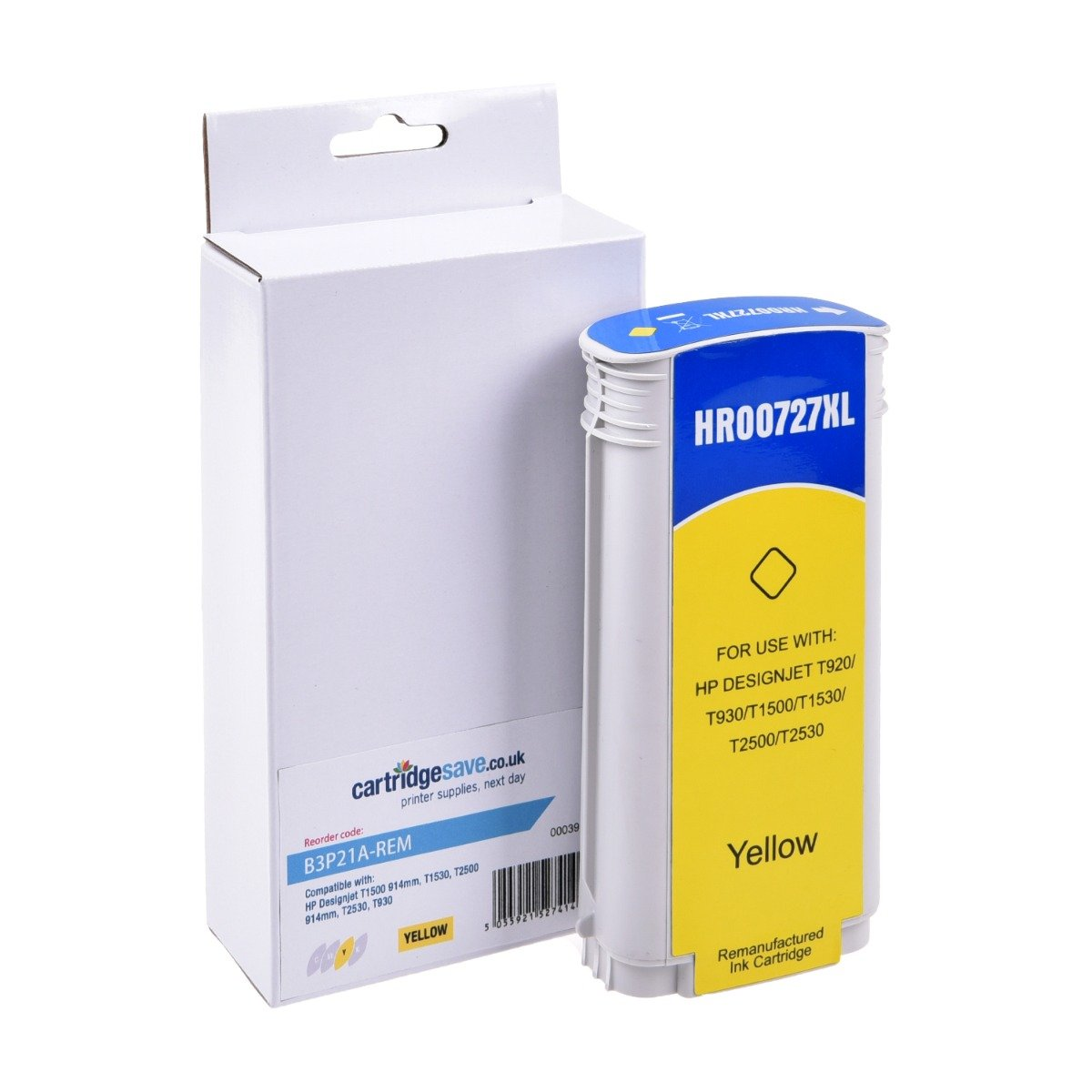 Compatible High Capacity HP 727 Yellow Ink Cartridge - (B3P21A)