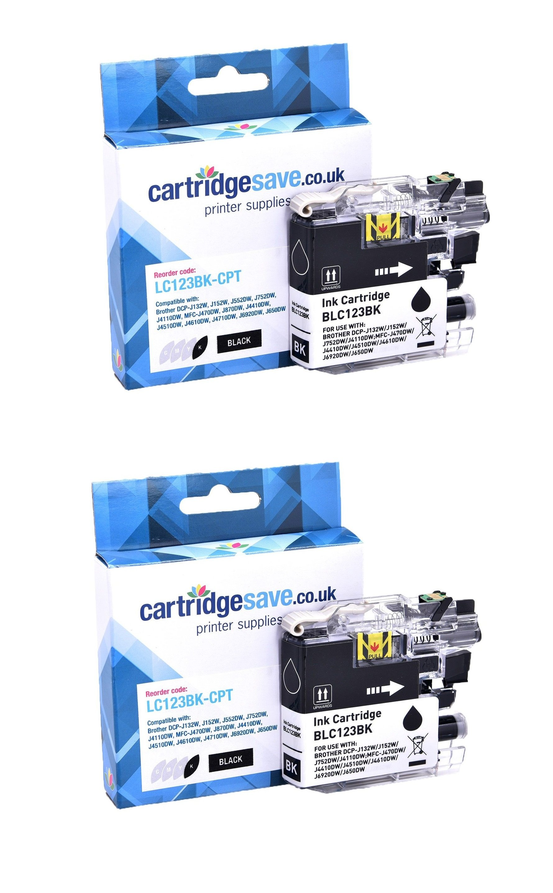 Compatible Black Brother LC123BK Ink Cartridge Twin Pack (LC123BKBP2)