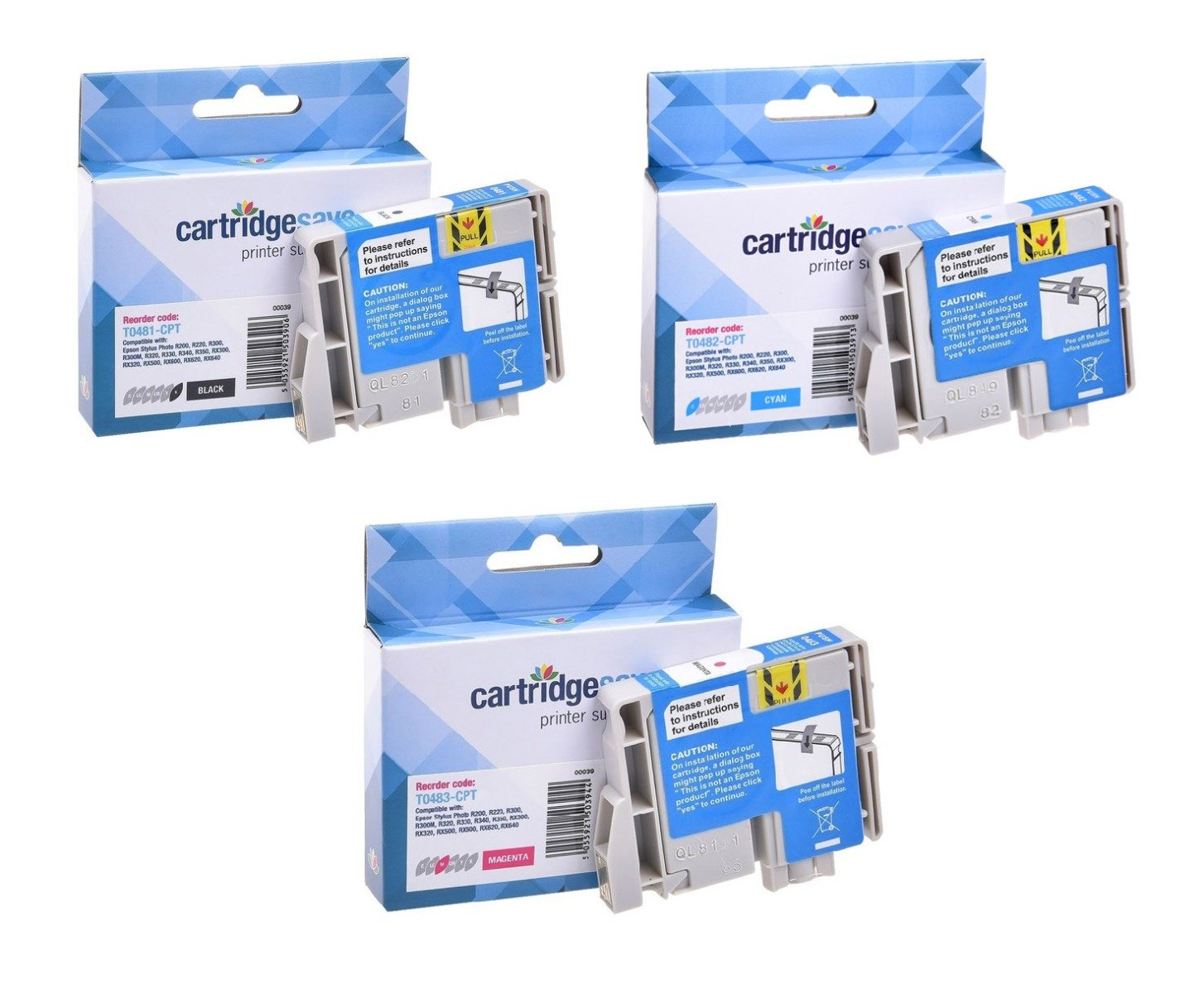 Compatible Multipack 3-Colour Epson T048C Ink Cartridge - (C13T048C40 Seahorse Inkjet Printer Cartridges)