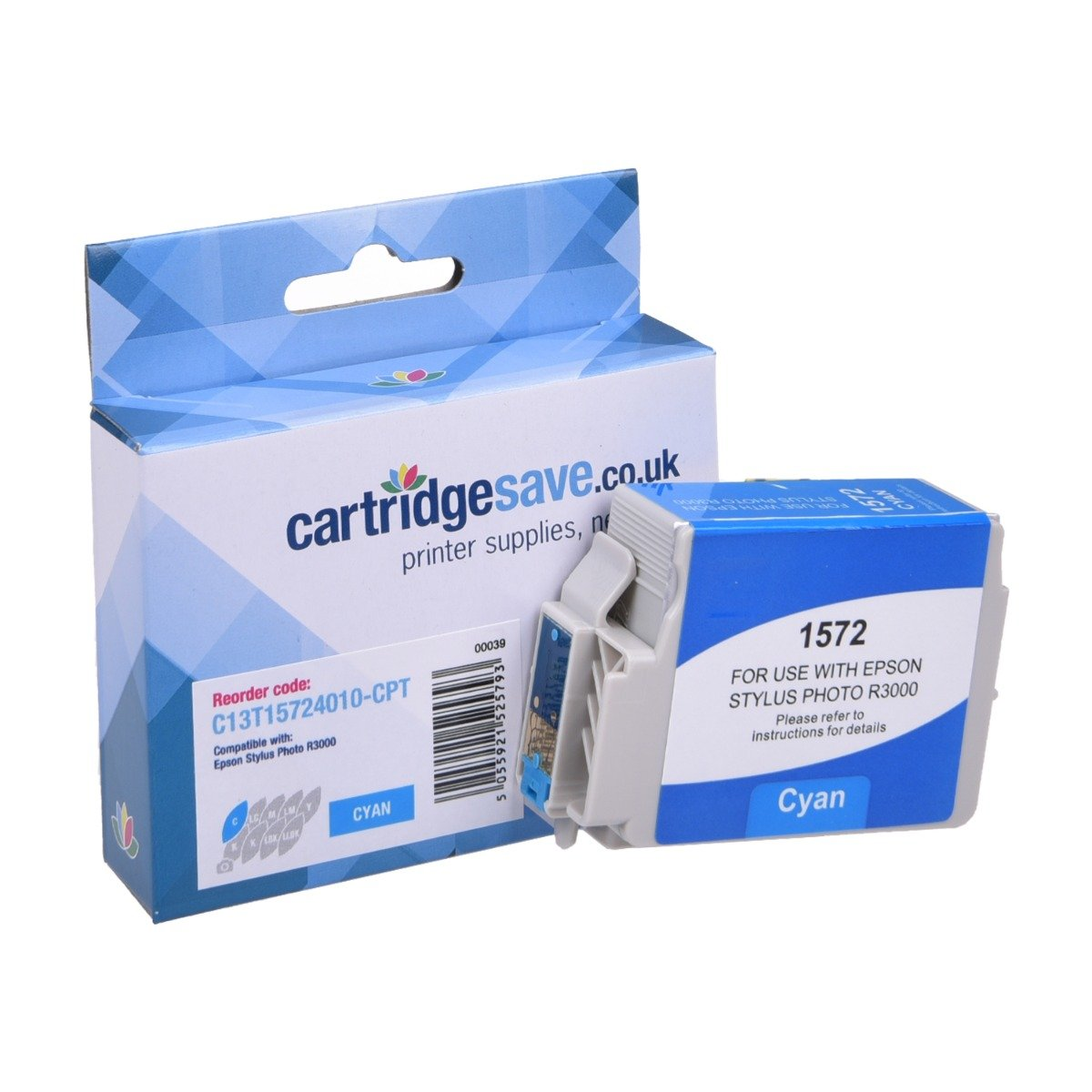 Compatible Epson Cyan T1572 Ink Cartridge - (Replaces Epson C13T157240 Turtle Inkjet Printer Cartridge)