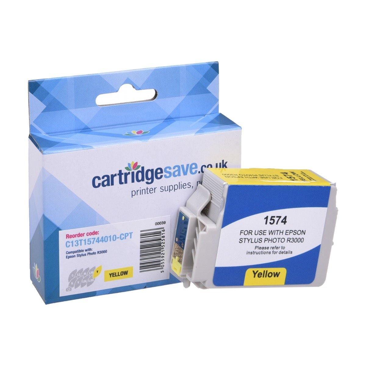 Compatible Epson Yellow T1574 Ink Cartridge - (Replaces Epson C13T157440 Turtle Inkjet Printer Cartridge)