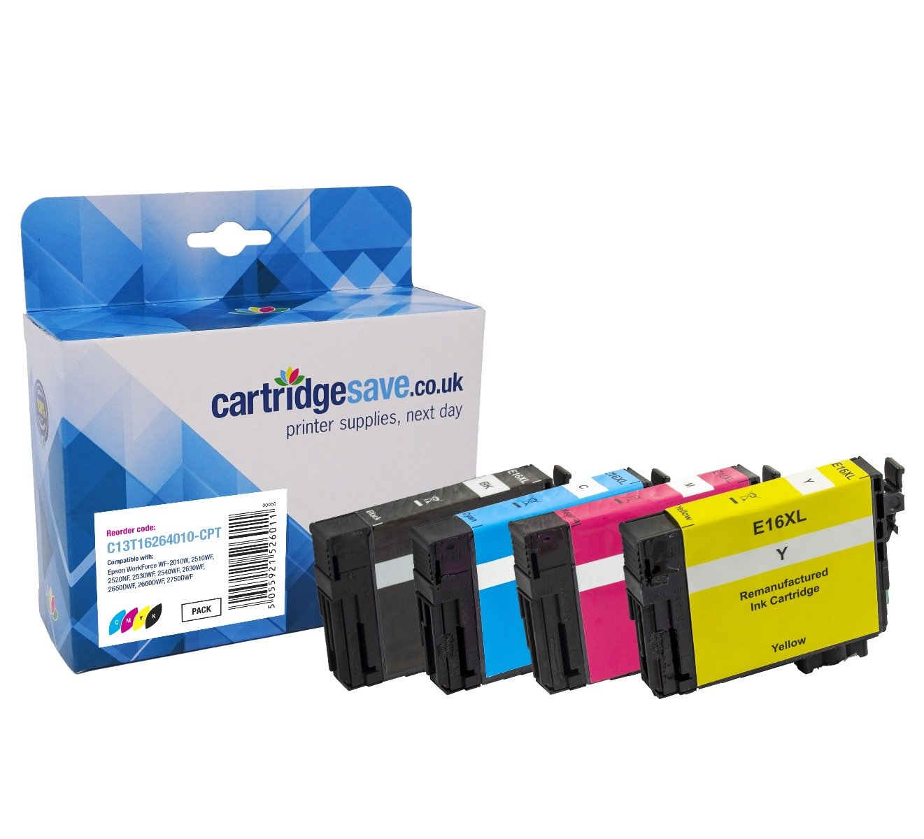 Compatible 4 Colour Epson 16 Ink Cartridge Multipack - (Replaces T1626 - T1621/T1622/T1623/T1624 Pen and Crossword Inkjet Printer Cartridges)