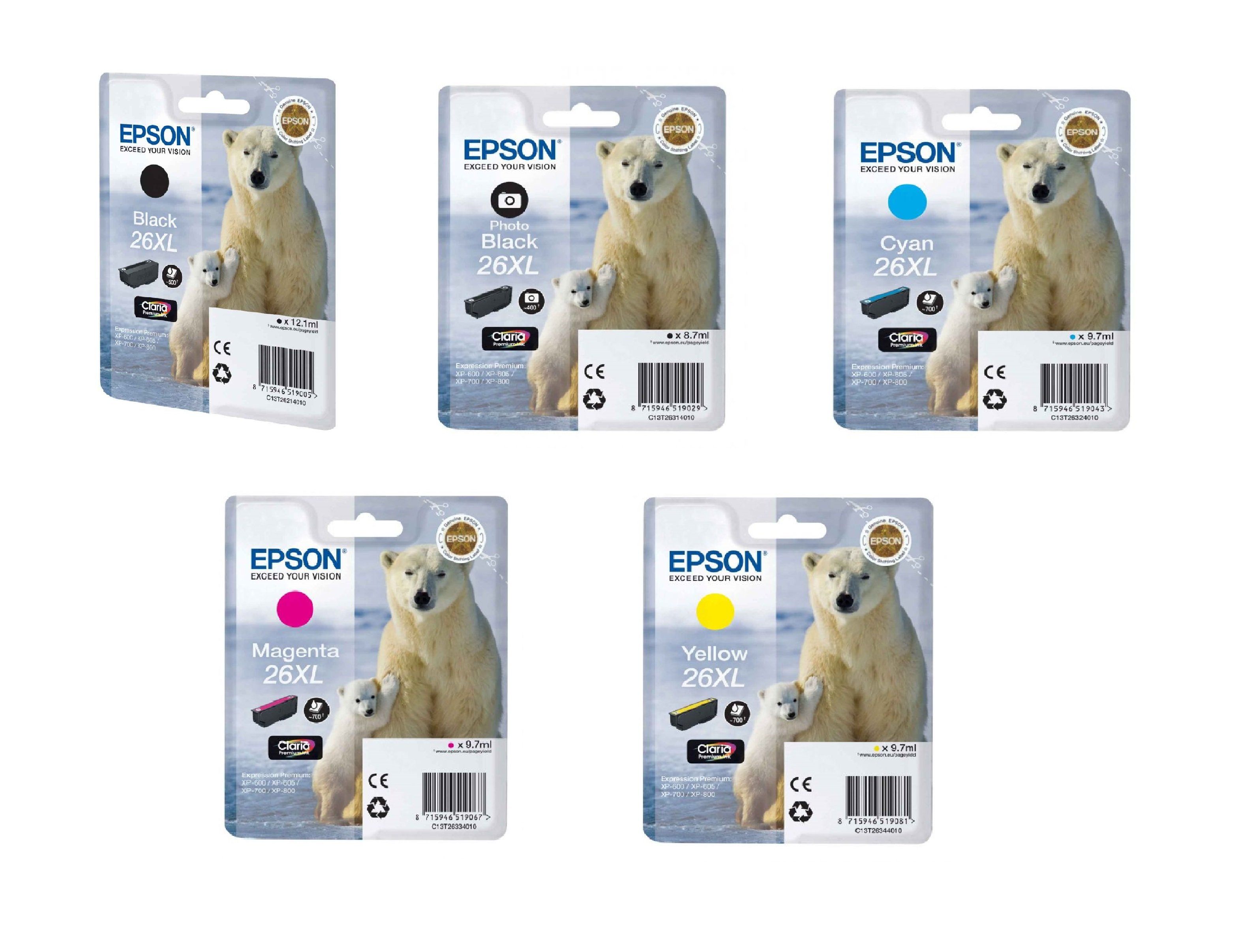 Genuine Epson C13T26 5 Colour High Capacity Ink Cartridge Multipack - (T2621/T2631/T2632/T2633/T2634)