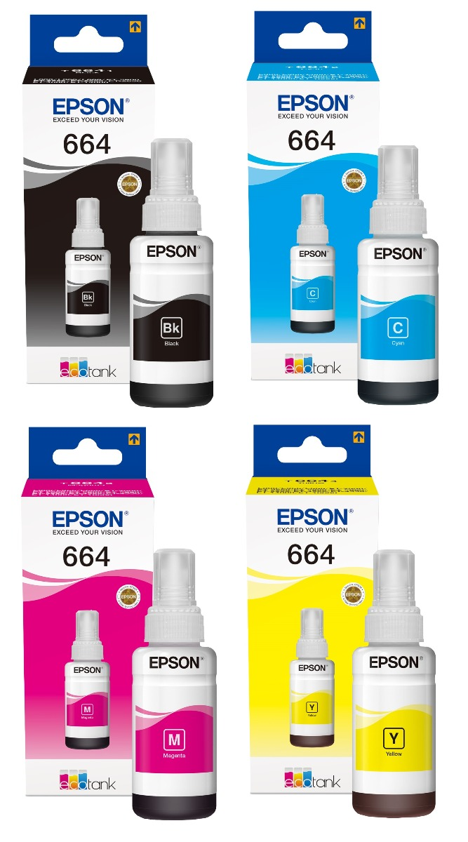 Genuine 4 Colour Epson T664 Ink Bottle Multipack - (T6641/T6642/T6643/T6644 Ecotank Printer Cartridges)