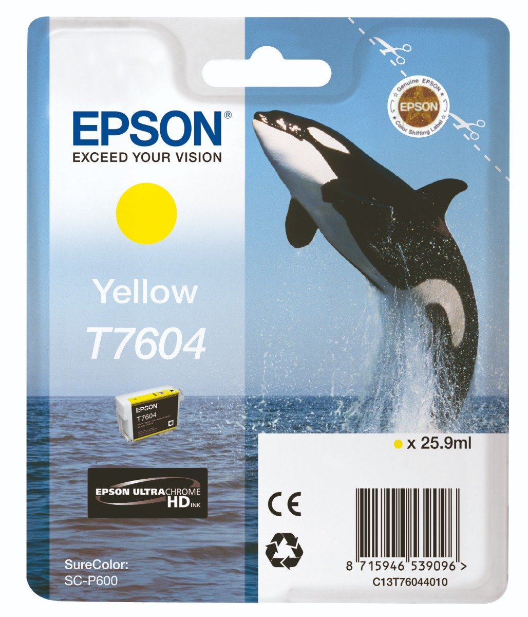 Genuine Yellow Epson T7604 Ink Cartridge - (C13T760440 Killer Whale Ultrachrome HD Ink Cartridge)