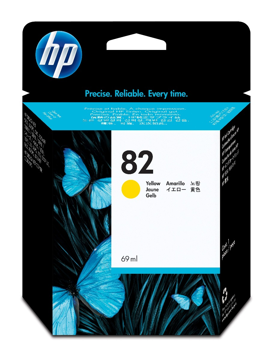 Genuine High Capacity Yellow HP 82 Ink Cartridge - (C4913A)