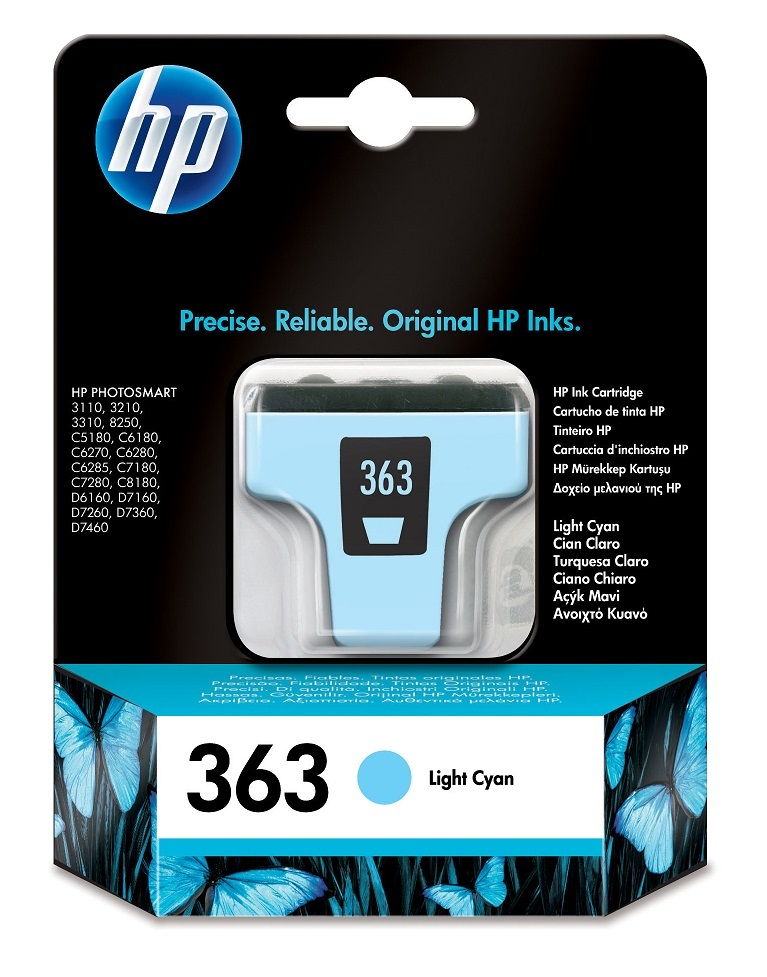 Genuine Light Cyan HP 363 Ink Cartridge - (Vivera C8774EE)