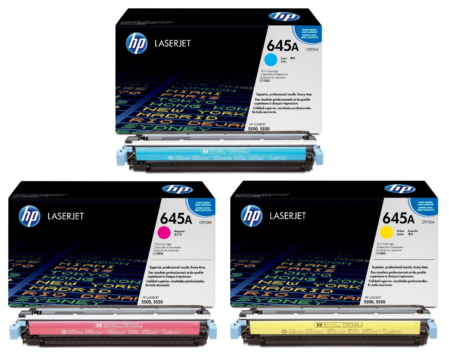 Genuine 3 Colour HP 645A Toner Cartridge Multipack (C9731A/C9732A/C9733A)