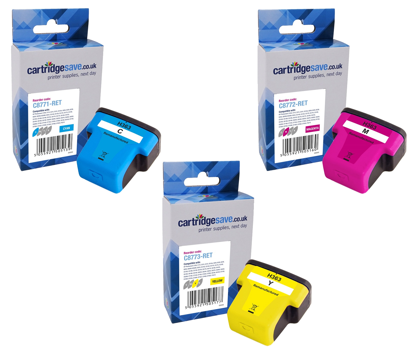 Compatible Multipack 3 Colour HP 363 Printer Cartridge - (HP CB333EE)