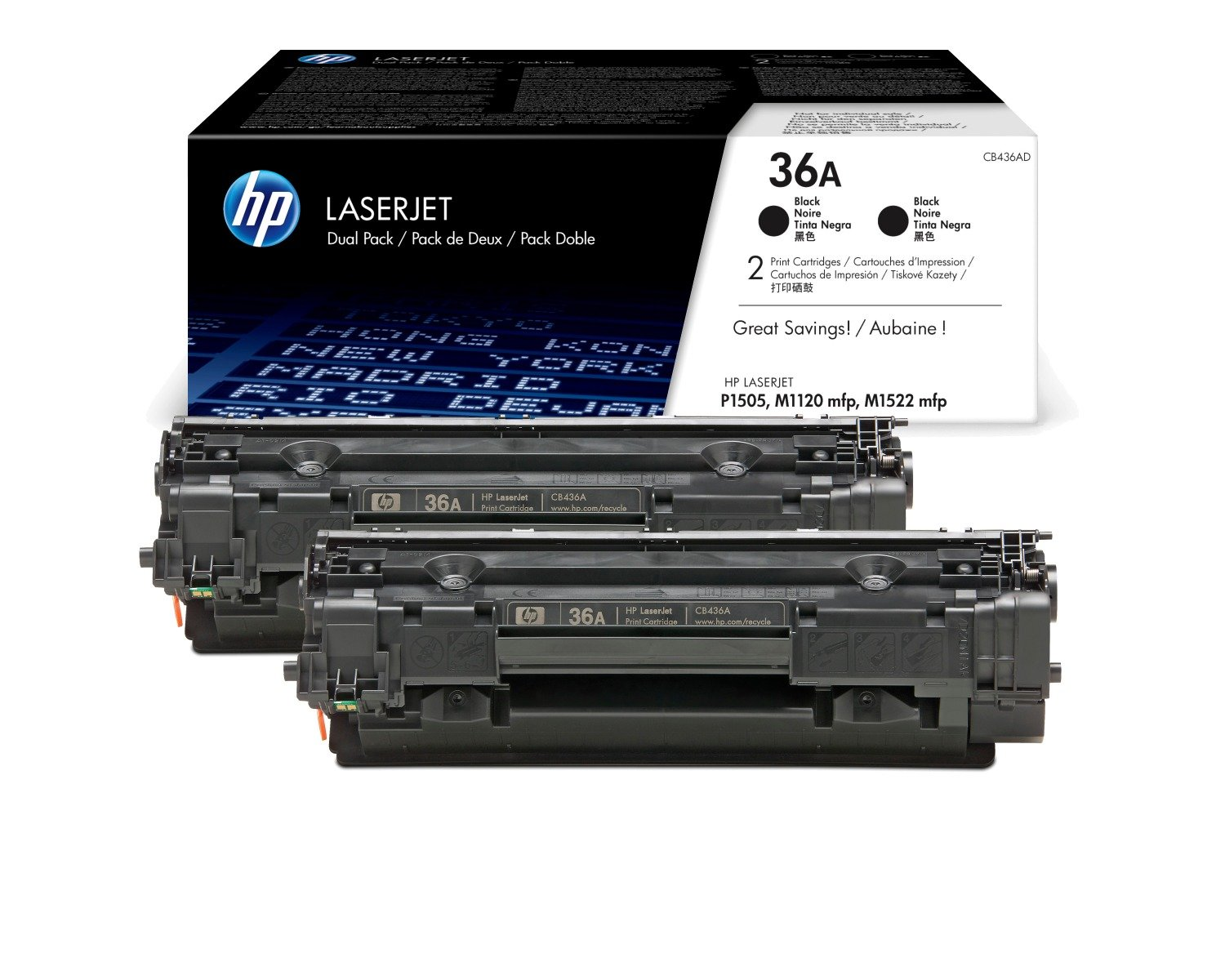 Genuine Black HP 36A Toner Cartridge Twin Pack - (CB436AD)