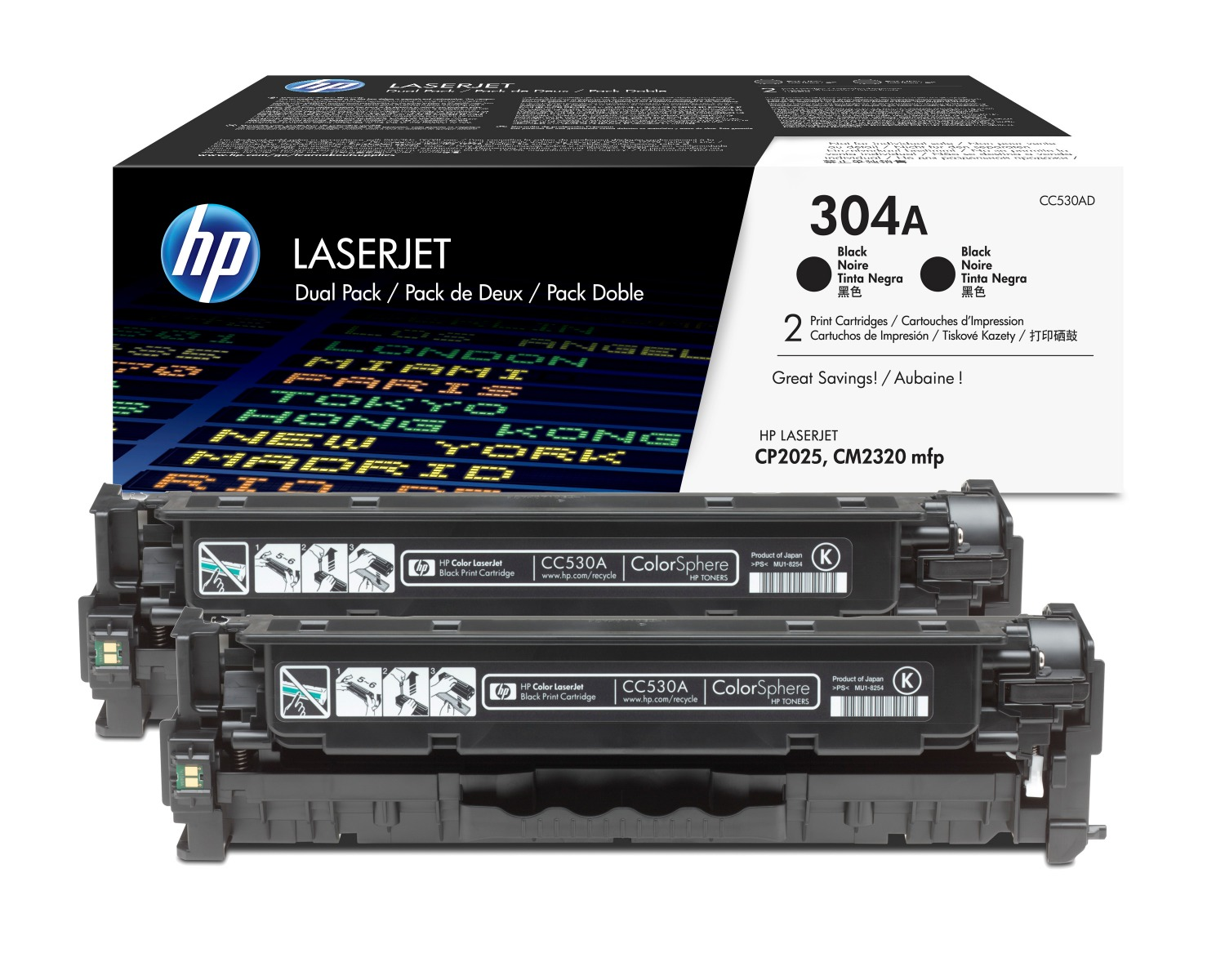 Genuine Black HP 304A Toner Cartridge Twin Pack - (CC530AD)