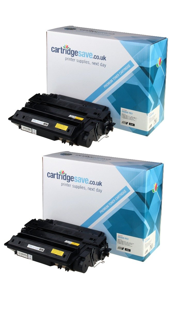 Compatible High Capacity Black HP 55X Toner Cartridge Twin Pack - (CE255XD)