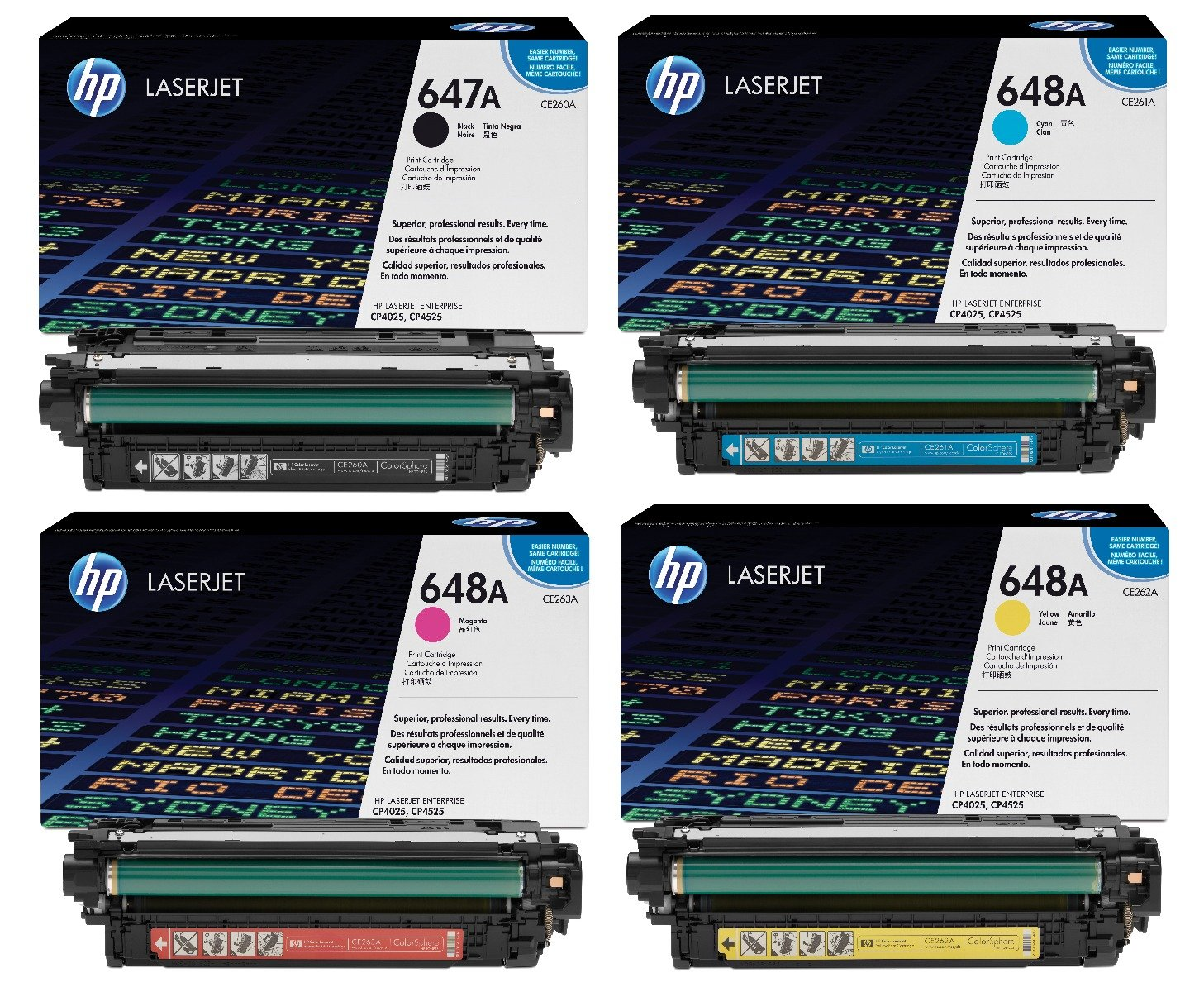Genuine 4 Colour HP 647A / HP 648A Toner Cartridge Multipack - (CE260A/CE261A/CE262A/CE263A)
