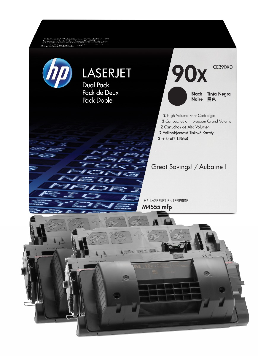 Genuine High Capacity Black HP 90X Toner Cartridge Twin Pack - (CE390XD)