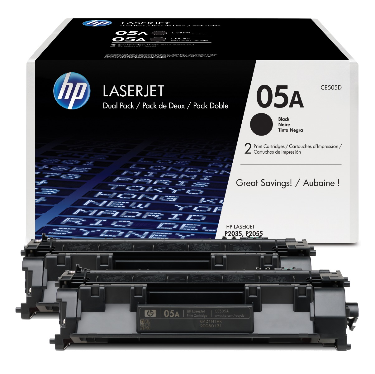 Genuine Black HP 05A Toner Cartridge Twin Pack - (HP CE505D)