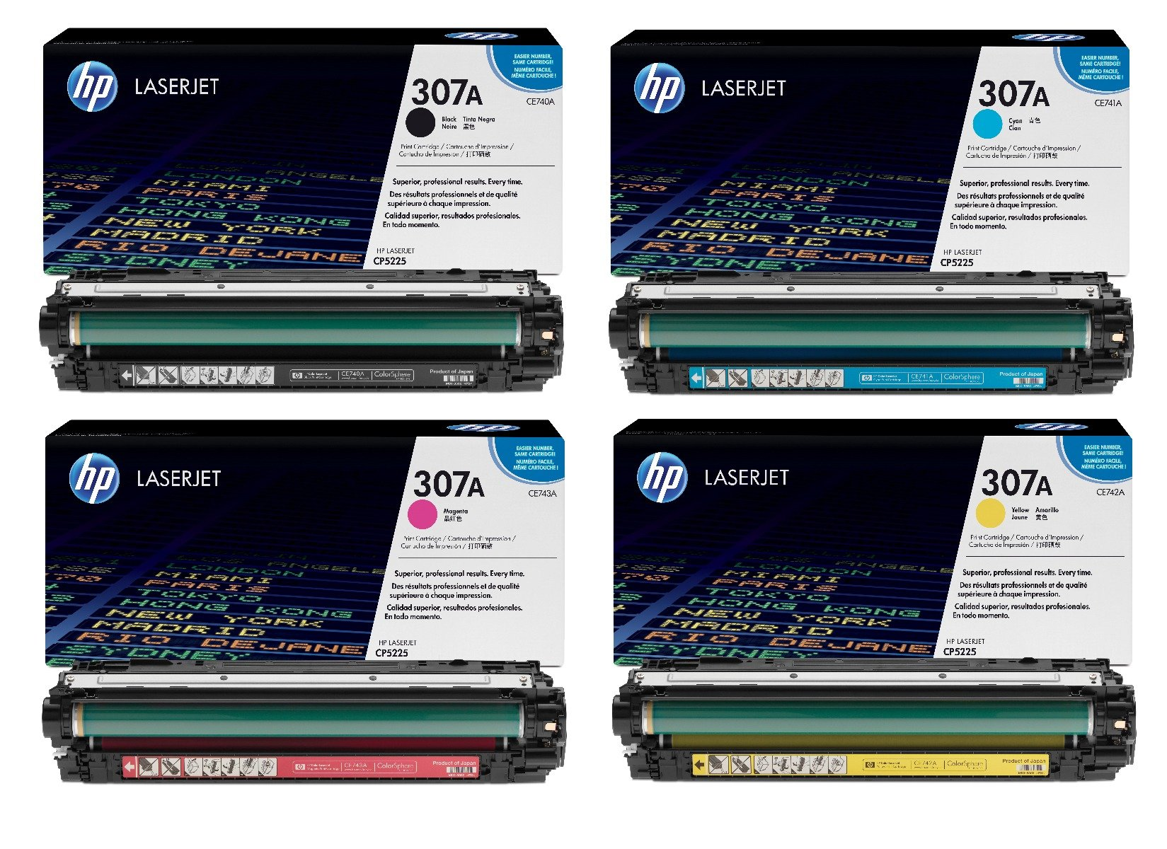 Genuine 4 Colour HP 307A Toner Cartridge Multipack - (CE740A/CE741A/CE742A/CE743A)