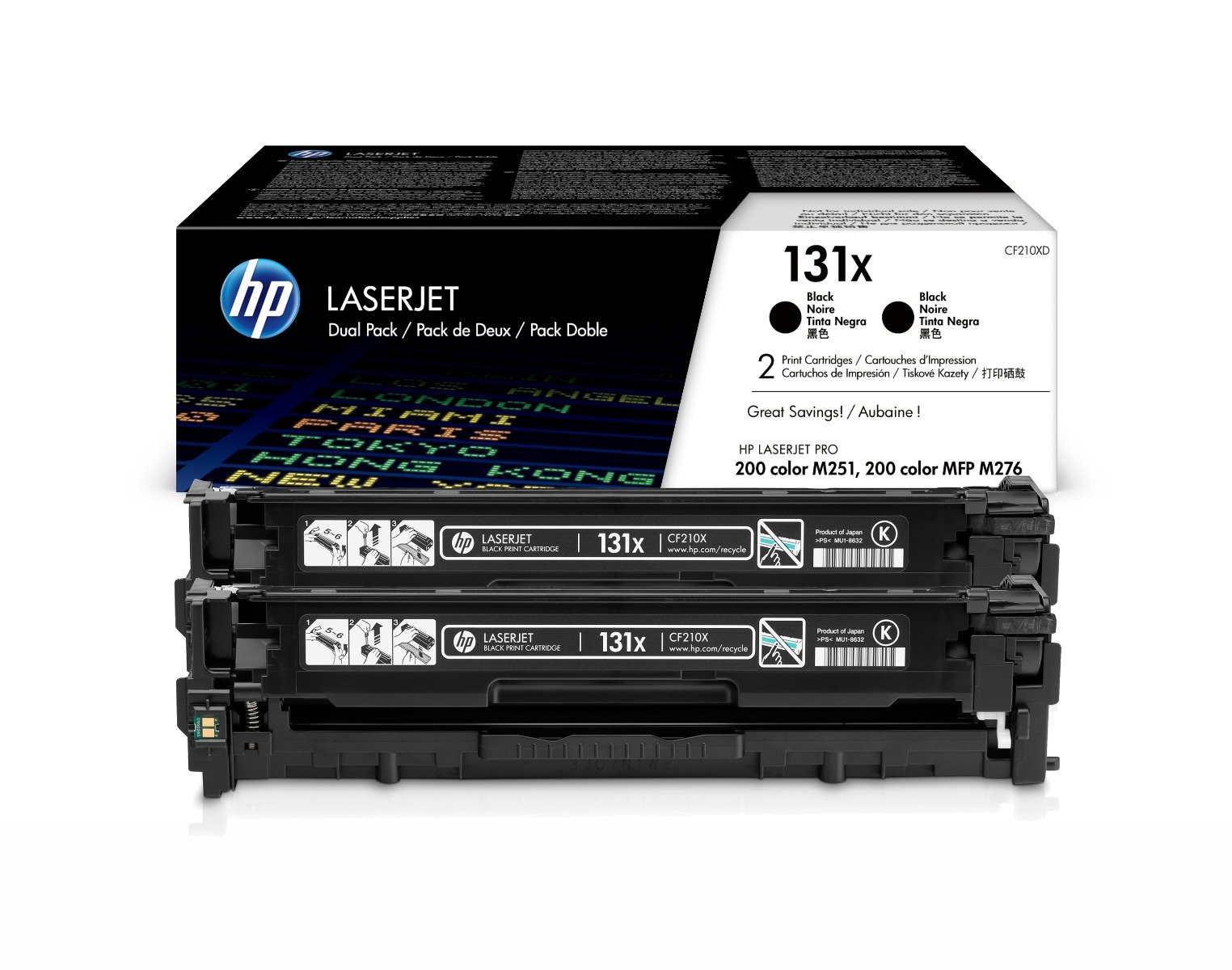 Genuine High Capacity Black HP 131X Toner Cartridge Twin Pack - (CF210XD)