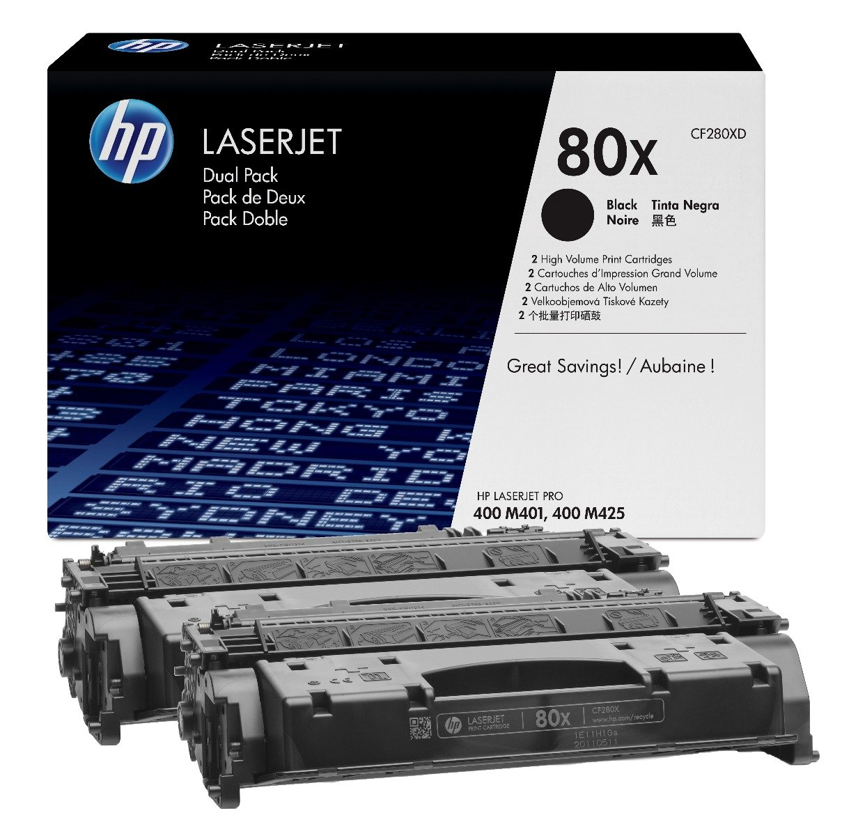 Genuine High Capacity Black HP 80X Toner Cartridge Twin Pack - (CF280XD)