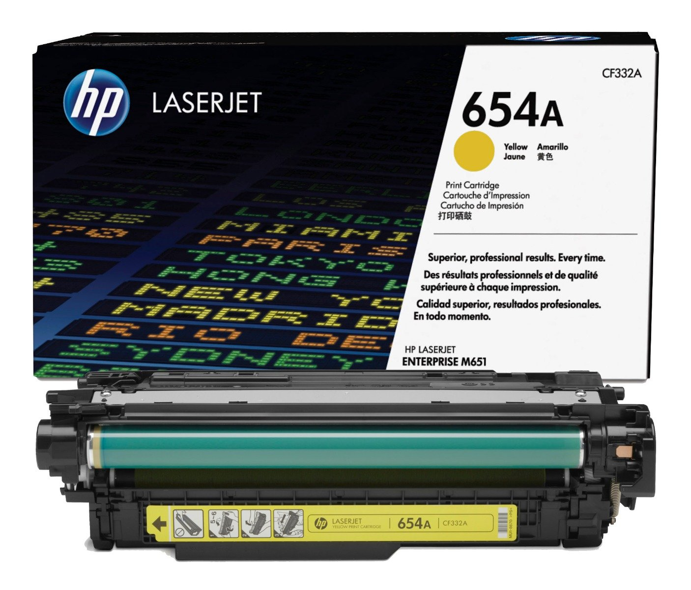 Genuine Yellow HP 654A Toner Cartridge - (CF332A)