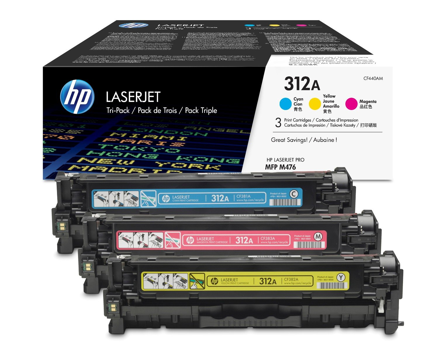 Genuine 3 Colour HP 312A Toner Cartridge Multipack - (CF440AM)