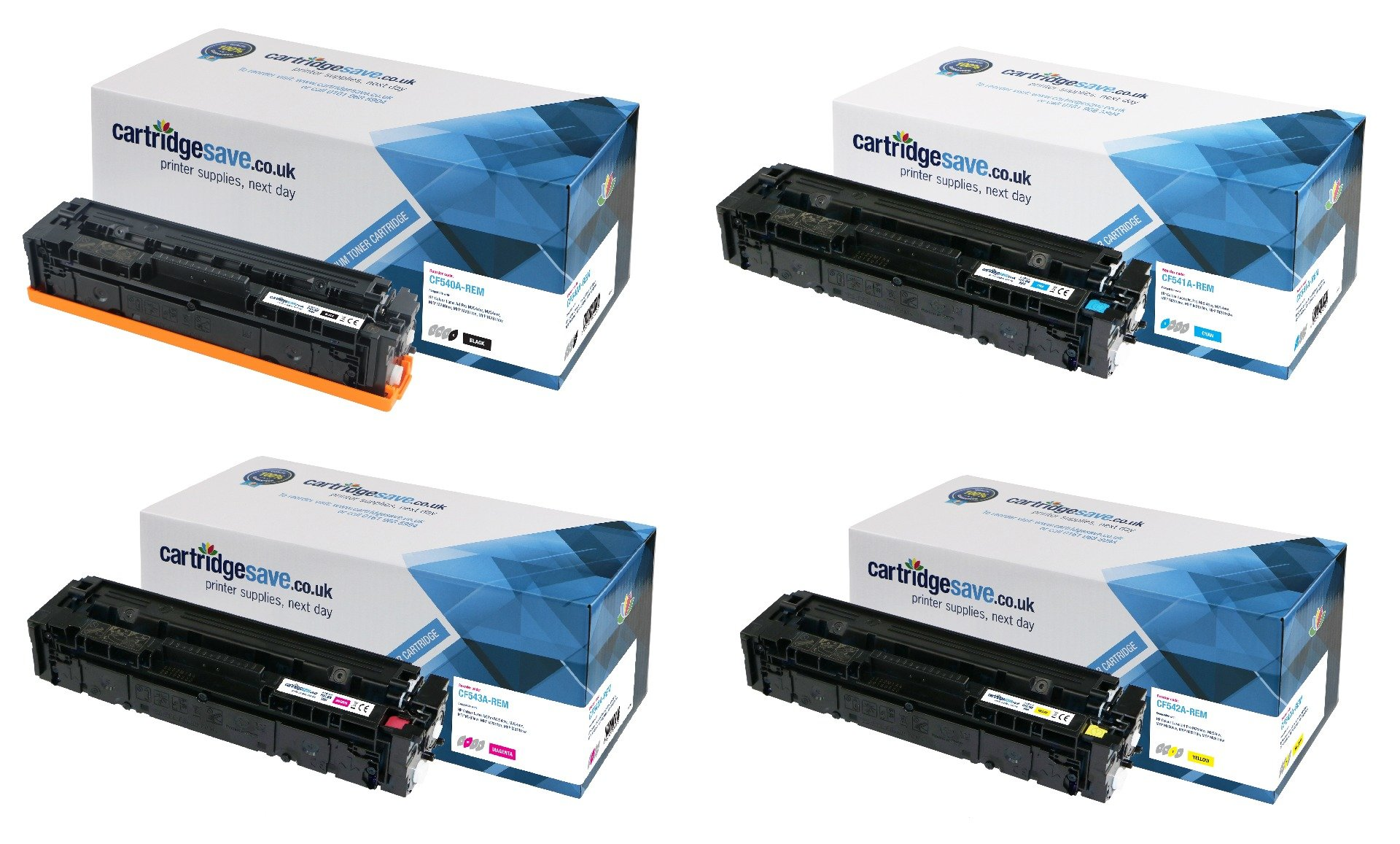 Compatible 4 Colour HP 203A Toner Cartridge Multipack - (CF540A/CF541A/CF542A/CF543A)