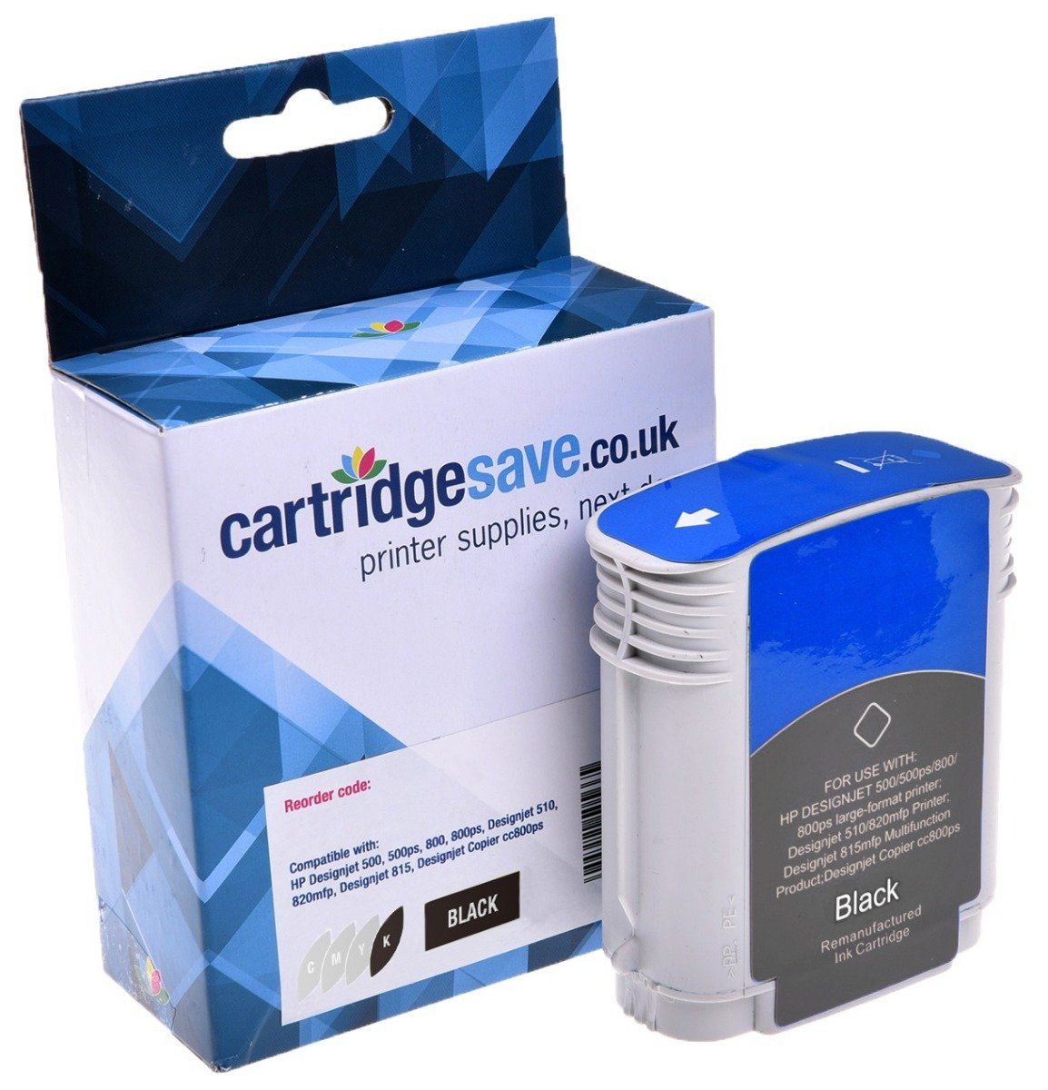 Compatible High Capacity HP 82 Black Ink Cartridge - (CH565A)