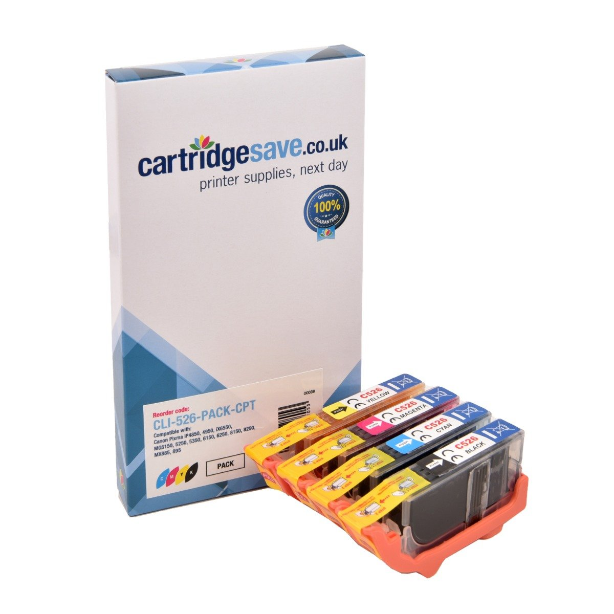 Compatible 4 Colour Canon CLI-526 Ink Cartridge Multipack - (CLI-526BK/ CLI-526C/ CLI-526M/ CLI-526Y)